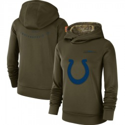 Nike Indianapolis Colts Women's Olive 2018 Salute to Service Team Logo Performance Pullover Hoodie